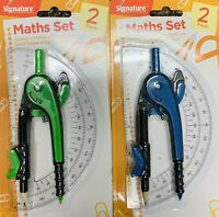 Maths Set Compass With Lever Lock Pencil Holder And Protractor - 2 Piece