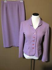 Sag Harbor Lavender Purple Two Piece Midi Skirt Suit Size 10 Career Church