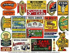 Oil Can Signs, Automobile Garage Signs, Gas Label, 2 Reproduction Sticker Sheets