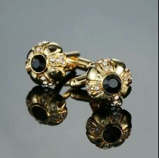 Gold Black Pirate Flower Cufflinks Formal for Suit Shirt  Business Wedding