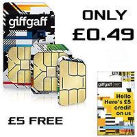 Giffgaff SIM Card Nano Micro 3 in 1 size FREE £5 Credit Giff Gaff PAYG 4G Data X