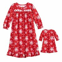 """THE ELF ON THE SHELF GIRLS' Nightgown W/Matching 18"""" Doll Gown NWT 3T RED"""