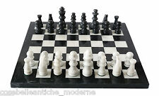 Board with stone marble inlaid chess Black 20x20cm