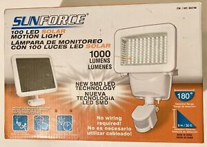 SUNFORCE 100 LED SOLAR MOTION LIGHT 1000 LUMENS 180 RANGE NO WIRING REQUIRED