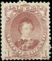 Mint Canada Newfoundland 1871 1c F+ Scott #32A Stamp Hinged