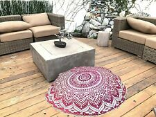 Pink Ombre Art Floor Pillow Cover boho Ottoman Round Pouf cover hippie footstool