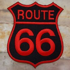 Ecusson patch thermocollant brodé route 66 USA biker- noir et rouge