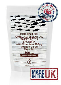 Cod liver 300mg Capsules Vitamin A and D Omega 3 Fish Oil ✔Made in UK