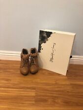 Elizabeth and James Manor Mocha Leather lace up Ankle Boots Sz 6