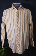 Stunning White Orange Green Blue Stripe R & G  ROBERT GRAHAM Long Sleeve Shirt M