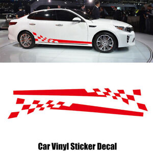 2x Red Car Auto Body Side Chequered Flag Racing Stripes Vinyl Decals Sticker DIY