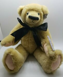 "12"" Annette Funicello Collectible Bear Company tan jointed bear w/ bow & tags"