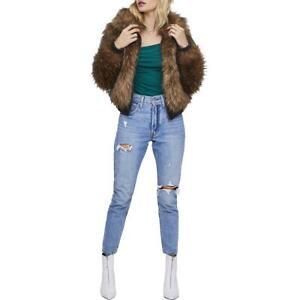 ASTR the Label Womens Jiselle Brown Winter Faux Fur Jacket Coat S BHFO 3164
