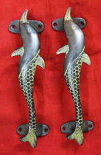 Dolphin Shape Door Handle Victorian Style Brass Nautical Almirah Cabinet Handle