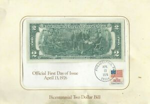 $2 Official First Day of Issue, April 13, 1976 Bicentennial Two Dollar Bill USA