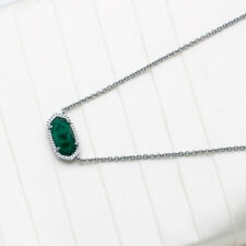 $65 Kendra Scott Elisa Silver Pendant Necklace In Emerald Cats Eye NEW