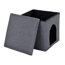 [en.casa]® Sitzhocker Hocker 38x38x38cm Katzenhaus Hundehaus Haustier Dunkelgrau