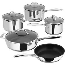 Stellar 7000 S7C4D 5 Piece Saucepan Set with Draining Lids, Induction Ready