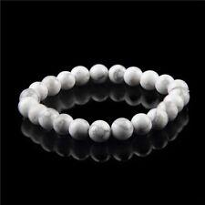 Beautiful Natural Howlite Stone Chakra Bracelet Reiki Healing White Beads