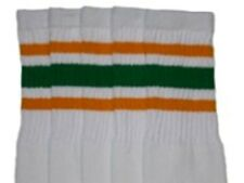 "19"" MID CALF WHITE tube socks with GOLD/GREEN stripes style 3 (19-43)"