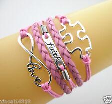Infinity Love/Faith/Autism Puzzle Sign Charms Leather Braided European Bracelet