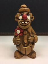 Rare Vintage 1983 Alpha Rez Co. Brown Clown with Red Flower Decorative