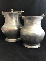 Lot 2 Vintage Turkish Pots Tinned Copper w Brass Flip Handle, 1 LG w Lid & 1 MED