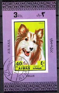 Ajman Emirate Fauna Pets Dog Collie Souvenir Sheet 1972