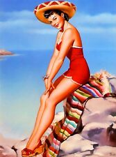 1940s Pin-Up Girl Cabo San Lucas Cutie Picture Poster Print Vintage Art Pin Up