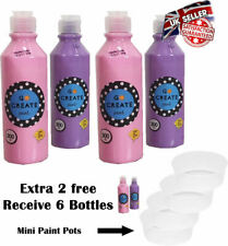 KIds Paint Pastel Colour Childrens Paints Ready Mixed Non Toxic Bottles 4X 300ml