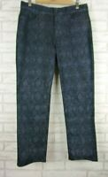 NYDJ Not Your Daughter's Jeans Sz 10 Black, blue python print Skinny fit