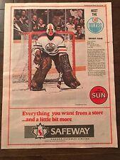 Grant Fuhr 1982 ROOKIE Full Page Uncut Edmonton Sun 11.5 by 15 Safeway Sponsored