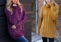 Women Oversized Knit Turtleneck Neck Chenille Velvet Sweater Pullover Top Colors