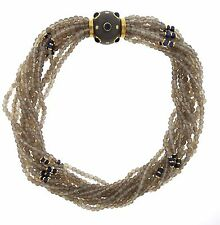 Trianon 18k Gold Grey Quartz Sapphire Diamond Multi Strand Necklace