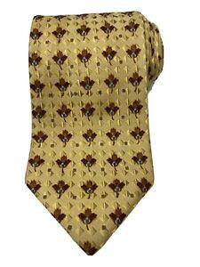Ermenegildo Zegna Mens Neck Tie Brown Gold Canada Woven Maple Leaf Silk Italy