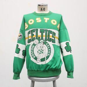 Vintage 90s Boston Celtics Pride Crew Neck Sweatshirt Size L All Over Print AOP