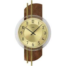 AMS 9413 orologio da parete quarzo analogico   ottone   fintapelle
