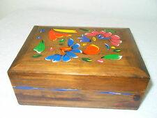 WOOD JEWELRY BOX WITH HAND PAINTED FLORAL DESIGN TOP