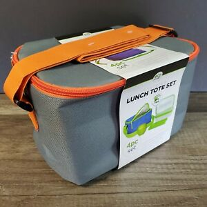 Eco One Insulated Lunch Tote Canvas 4 pc Set NEW Orange/Grey