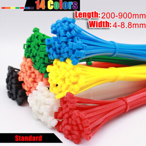 Colorful Cable Ties Zip Tie Wraps Nylon Plastic 4-8.8mm Width 200-900mm Large