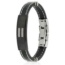 Equality Bracelet ID Plate Leather Stitch Accent Stainless Steel Gay Pride LGBTQ