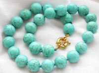 "Genuine 8/10/12/14mm Natural Blue Turquoise Round Gemstone Beads Necklace 18""AAA"