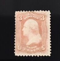 US STAMPS Sc #65 Mint Bright Rose 3 Cent Stamp With Part OG** CV=$125
