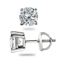 1.50 Ct Round Solitaire Diamond Studs 14K White Gold Earrings Hallmarked