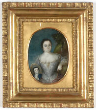 """""""Lady with a Portrait of Husband"""", Italian Oil on Copper Miniature, 18th century"""