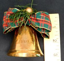 Merry Christmas Etched Brass Bell Made in India Vintage Origingal Paper Tag 3""