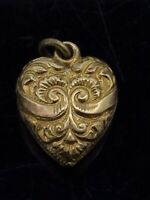 Antique Victorian Pendant Dainty Gilt Metal Scrolling Textured Engraved C.1880s