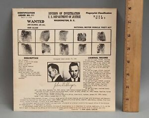 RARE Authentic Original 1934 Enemy No 1 JOHN DILLINGER Post Office Wanted Poster