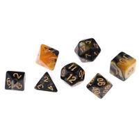 7 Polyhedral Dice D20 D12 D10 D8 D6 D4 for  Yellow Black