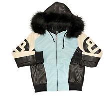 Men's Robert Phillipe Sky Blue/White 8 Ball Jacket with Fur Hood